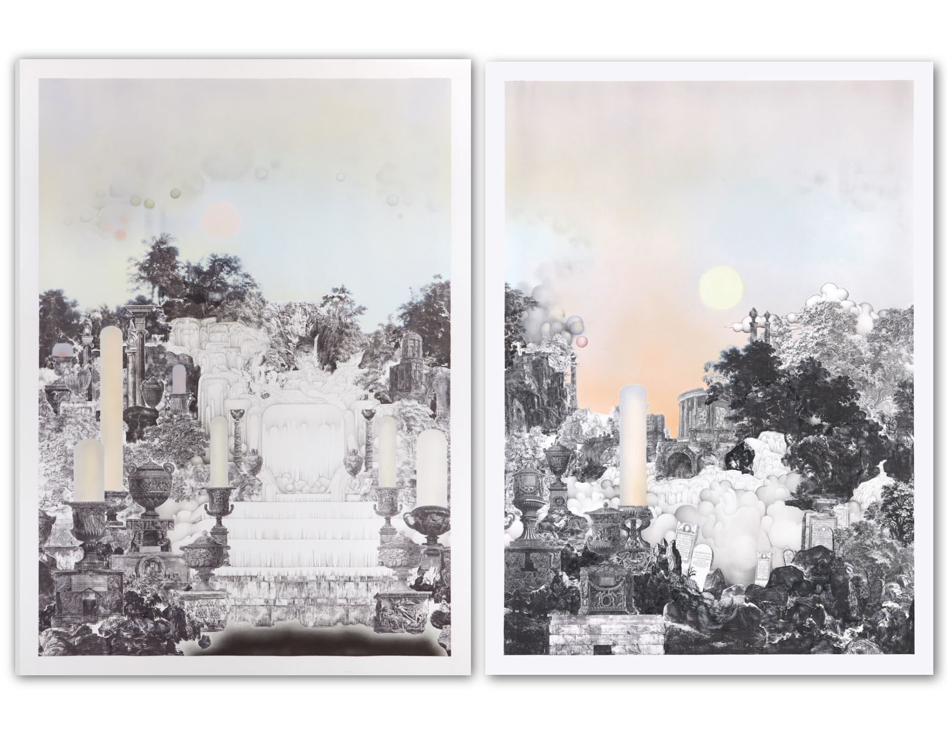 Diptych - Depicting Vistas of a Ruined City with Fragments of Roman Architecture